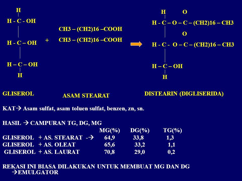 KAT  Asam sulfat, asam toluen sulfat, benzen, zn, sn.