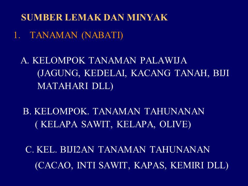 SUMBER LEMAK DAN MINYAK 1.TANAMAN (NABATI) A.