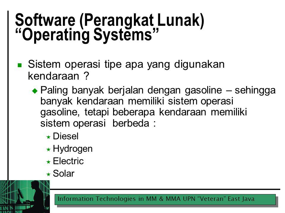Information Technologies in MM & MMA UPN Veteran East Java Software (Perangkat Lunak) Operating Systems Sistem operasi tipe apa yang digunakan kendaraan .