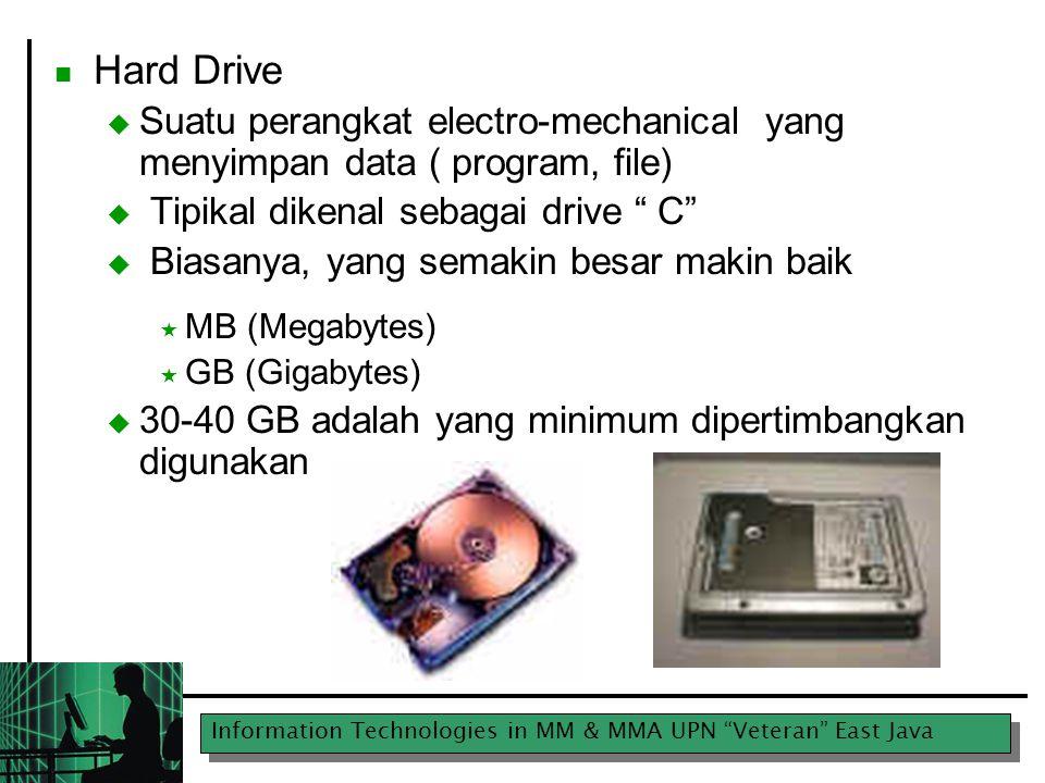 """Information Technologies in MM & MMA UPN """"Veteran"""" East Java Hard Drive  Suatu perangkat electro-mechanical yang menyimpan data ( program, file)  Ti"""