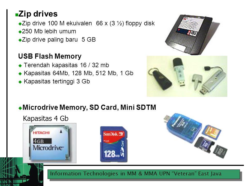 """Information Technologies in MM & MMA UPN """"Veteran"""" East Java Zip drives  Zip drive 100 M ekuivalen 66 x (3 ½) floppy disk  250 Mb lebih umum  Zip d"""