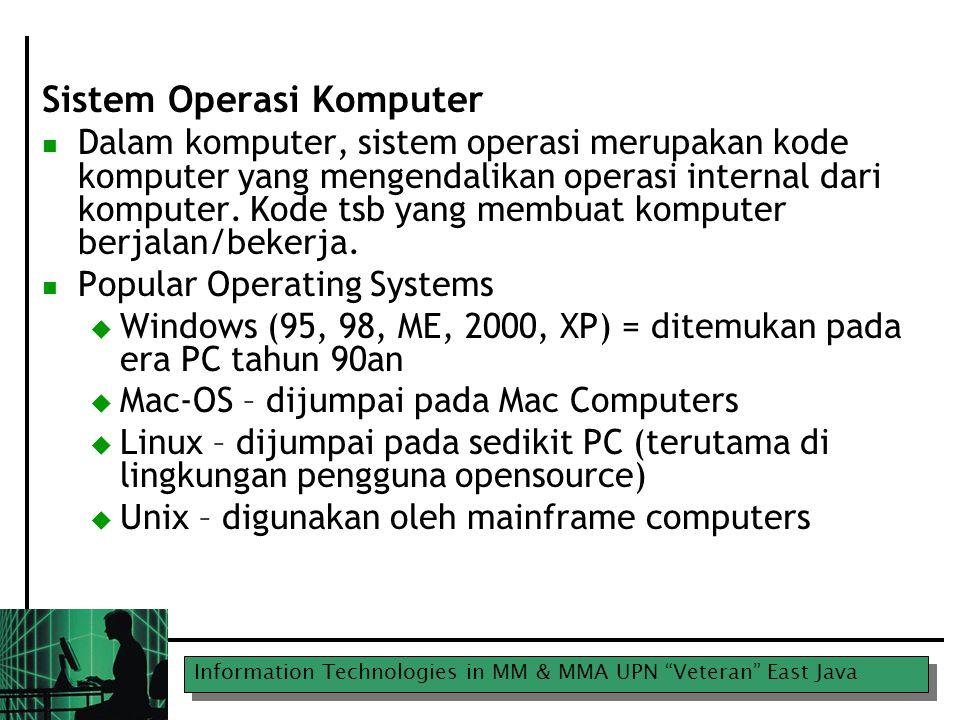 Information Technologies in MM & MMA UPN Veteran East Java Ports IEE1394 port atau firewire port  Digunakan utk koneksi camera video dan mentransfer video  Cepat, sangat cepat  Jika komputer tak memilikinya, lupakan utk membuat film digital
