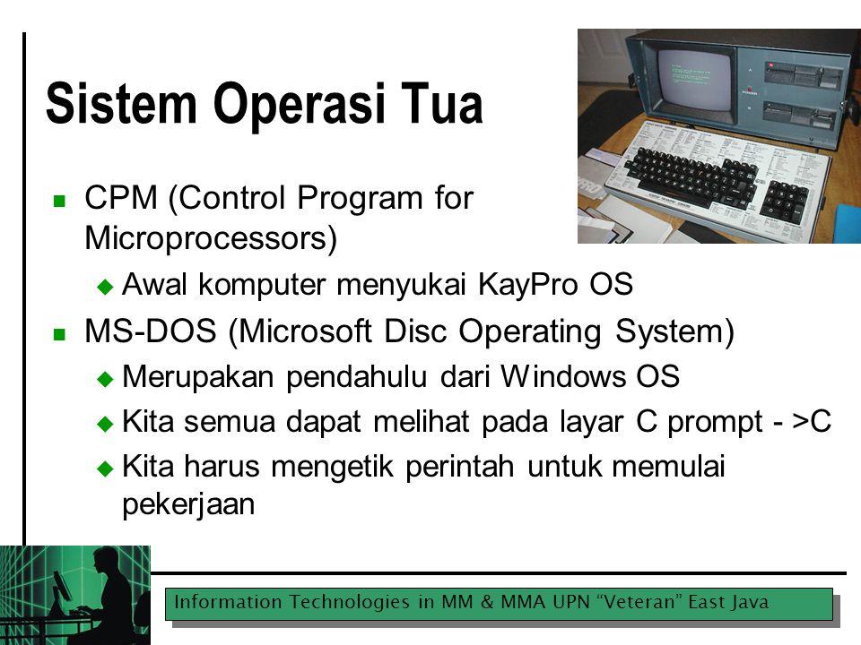 Information Technologies in MM & MMA UPN Veteran East Java Hard Drive  Suatu perangkat electro-mechanical yang menyimpan data ( program, file)  Tipikal dikenal sebagai drive C  Biasanya, yang semakin besar makin baik  MB (Megabytes)  GB (Gigabytes)  30-40 GB adalah yang minimum dipertimbangkan digunakan