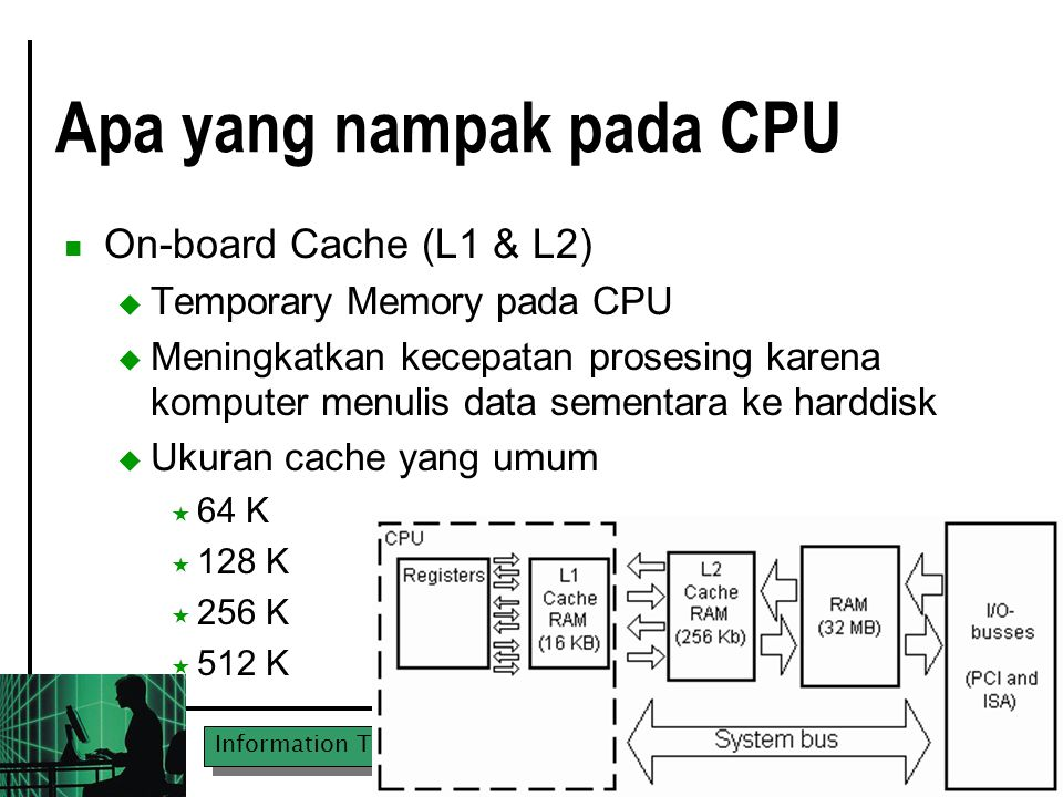 "Information Technologies in MM & MMA UPN ""Veteran"" East Java Apa yang nampak pada CPU On-board Cache (L1 & L2)  Temporary Memory pada CPU  Meningkat"