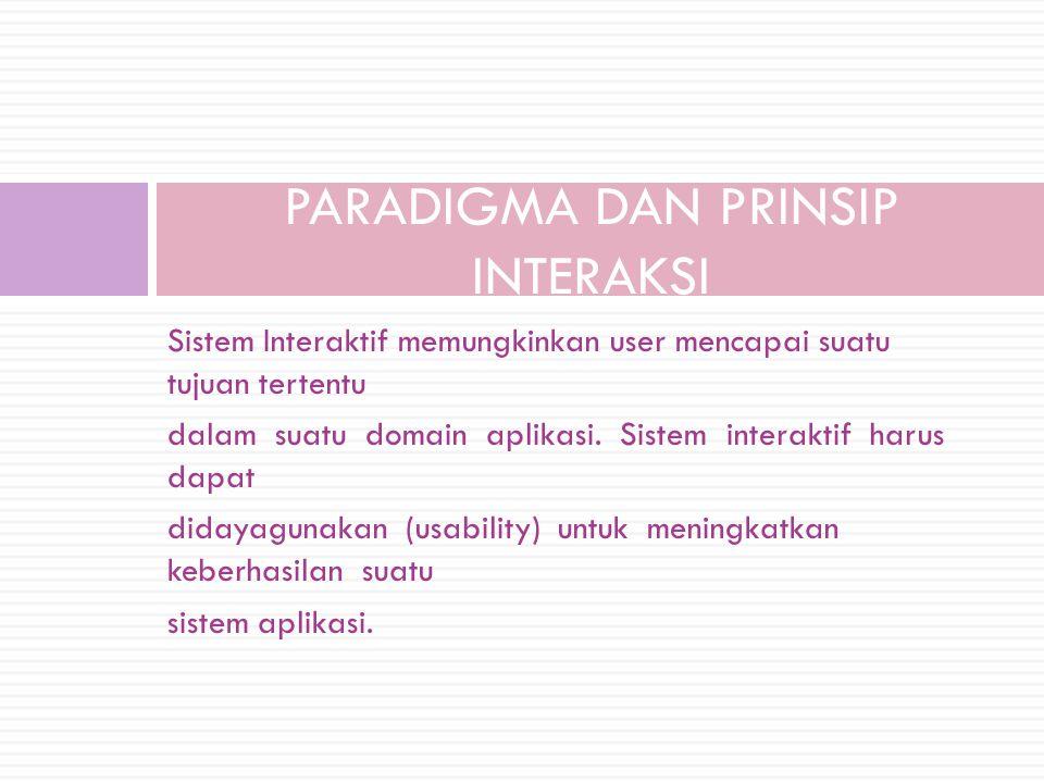 Sistem Interaktif memungkinkan user mencapai suatu tujuan tertentu dalam suatu domain aplikasi. Sistem interaktif harus dapat didayagunakan (usability