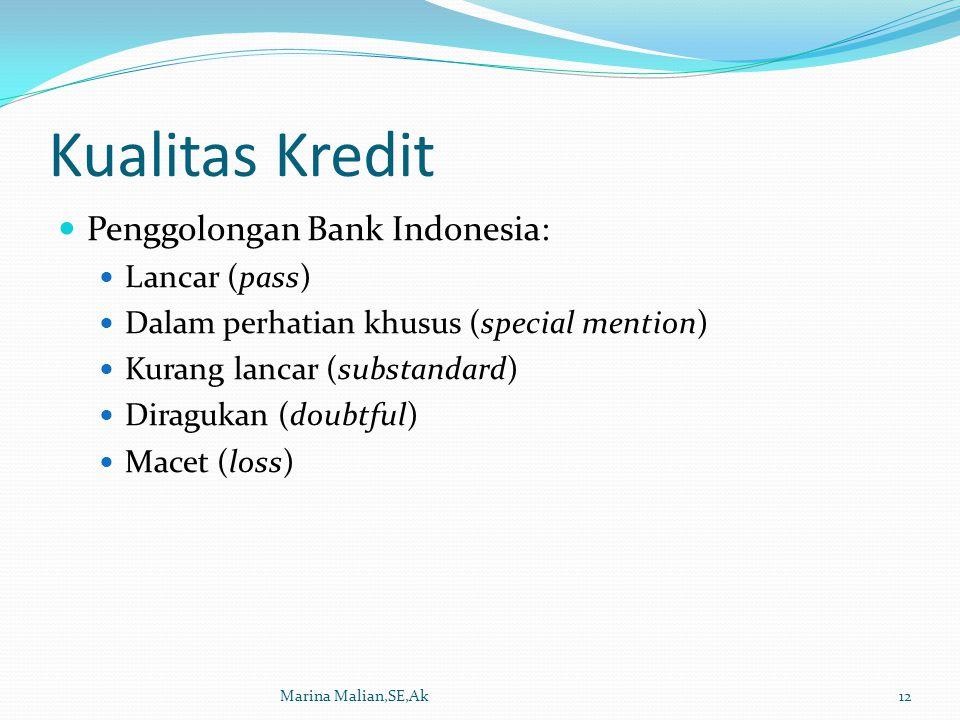 Kualitas Kredit Penggolongan Bank Indonesia: Lancar (pass) Dalam perhatian khusus (special mention) Kurang lancar (substandard) Diragukan (doubtful) Macet (loss) Marina Malian,SE,Ak12