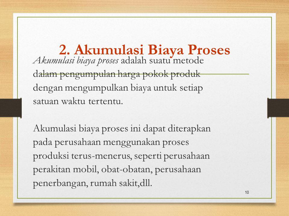 2. Akumulasi Biaya Proses Akumulasi biaya proses adalah suatu metode dalam pengumpulan harga pokok produk dengan mengumpulkan biaya untuk setiap satua