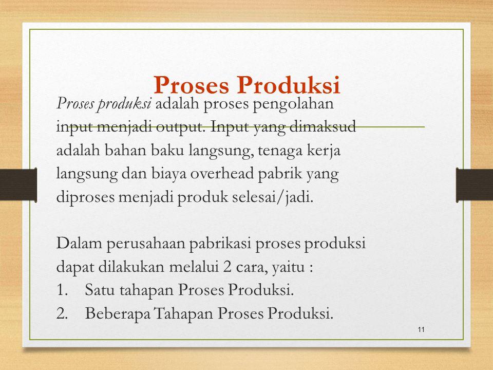 Proses Produksi Proses produksi adalah proses pengolahan input menjadi output. Input yang dimaksud adalah bahan baku langsung, tenaga kerja langsung d