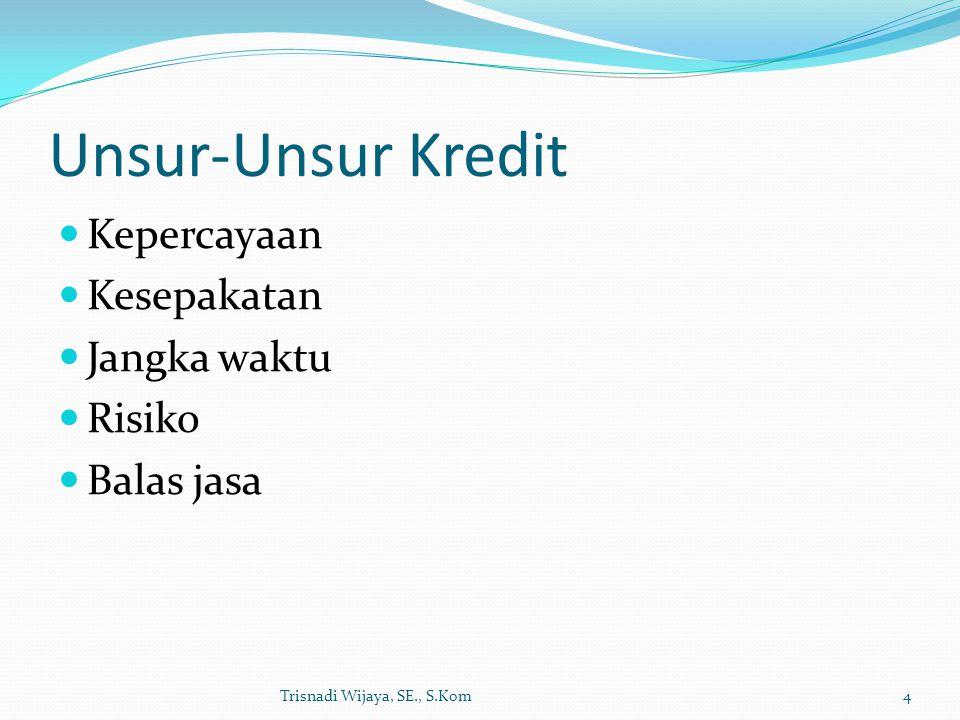 Unsur-Unsur Kredit Kepercayaan Kesepakatan Jangka waktu Risiko Balas jasa Trisnadi Wijaya, SE., S.Kom4