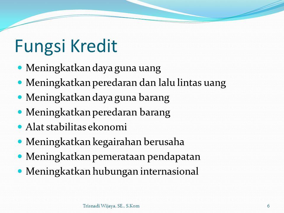 Fungsi Kredit Meningkatkan daya guna uang Meningkatkan peredaran dan lalu lintas uang Meningkatkan daya guna barang Meningkatkan peredaran barang Alat