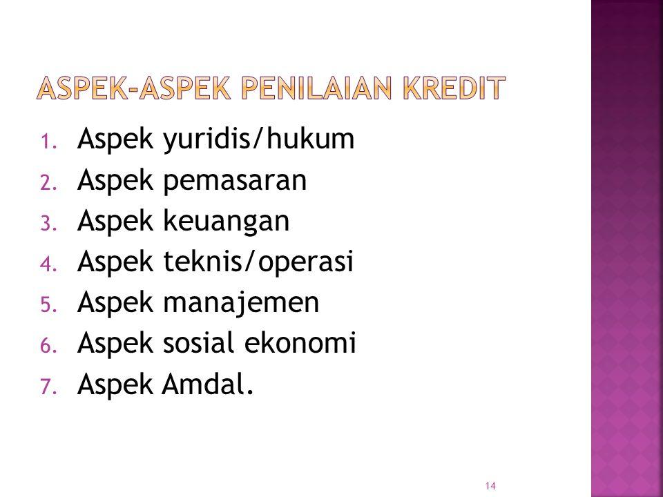 1. Aspek yuridis/hukum 2. Aspek pemasaran 3. Aspek keuangan 4. Aspek teknis/operasi 5. Aspek manajemen 6. Aspek sosial ekonomi 7. Aspek Amdal. 14