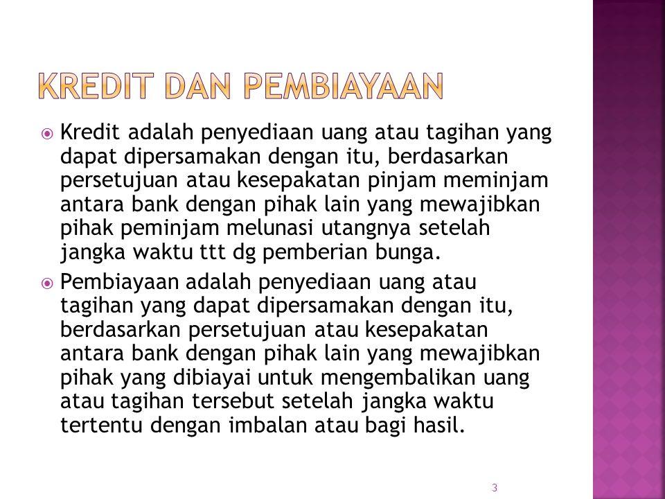 3  Kredit adalah penyediaan uang atau tagihan yang dapat dipersamakan dengan itu, berdasarkan persetujuan atau kesepakatan pinjam meminjam antara ban