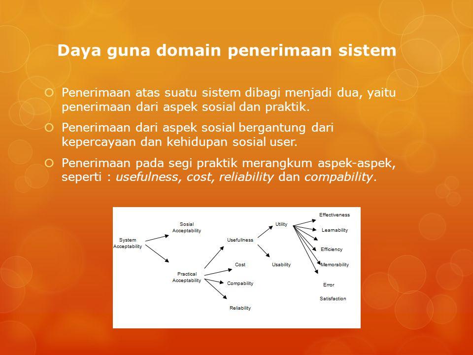 Daya guna domain penerimaan sistem  Penerimaan atas suatu sistem dibagi menjadi dua, yaitu penerimaan dari aspek sosial dan praktik.  Penerimaan dar