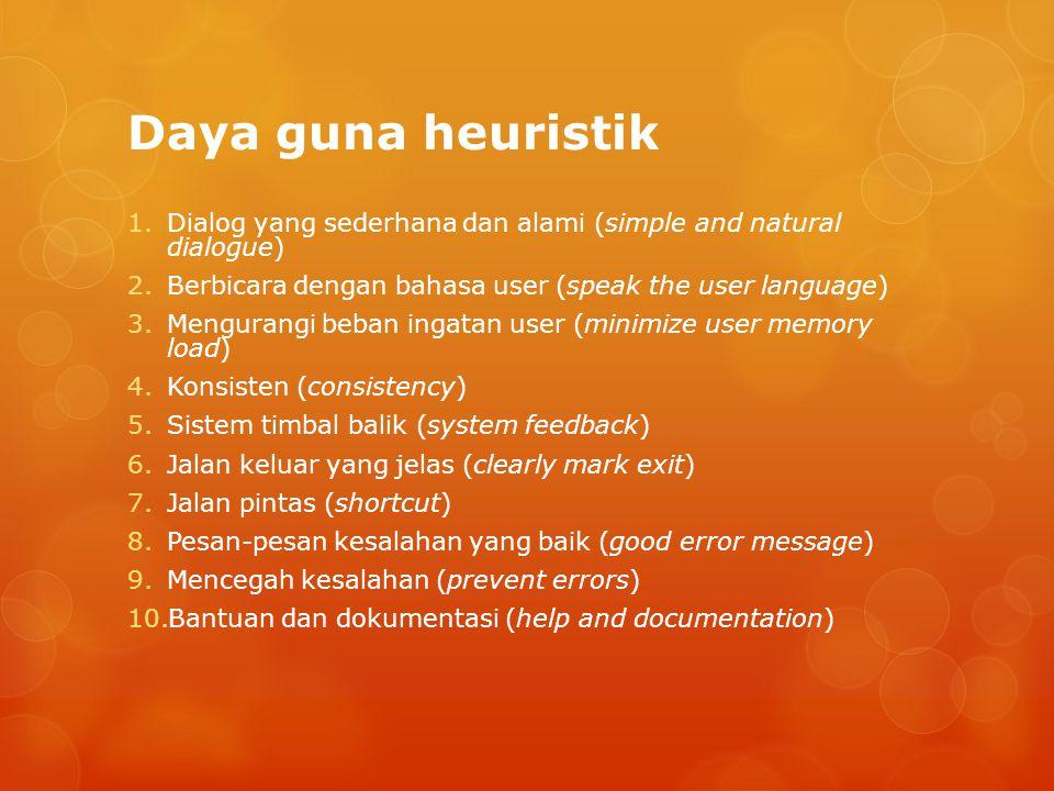 Daya guna heuristik 1.Dialog yang sederhana dan alami (simple and natural dialogue) 2.Berbicara dengan bahasa user (speak the user language) 3.Mengura
