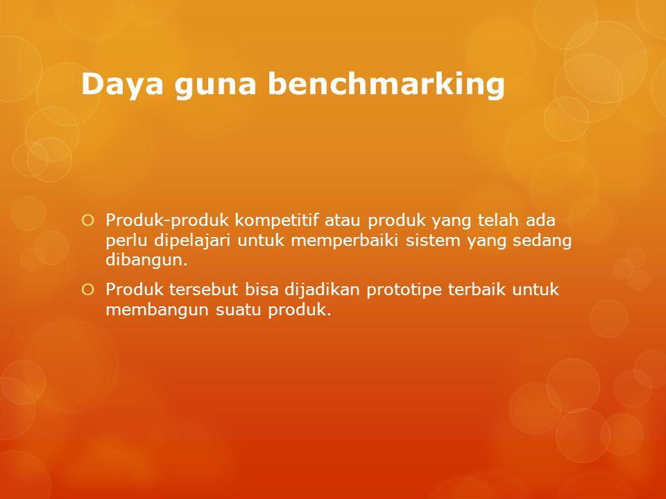 Daya guna benchmarking  Produk-produk kompetitif atau produk yang telah ada perlu dipelajari untuk memperbaiki sistem yang sedang dibangun.  Produk
