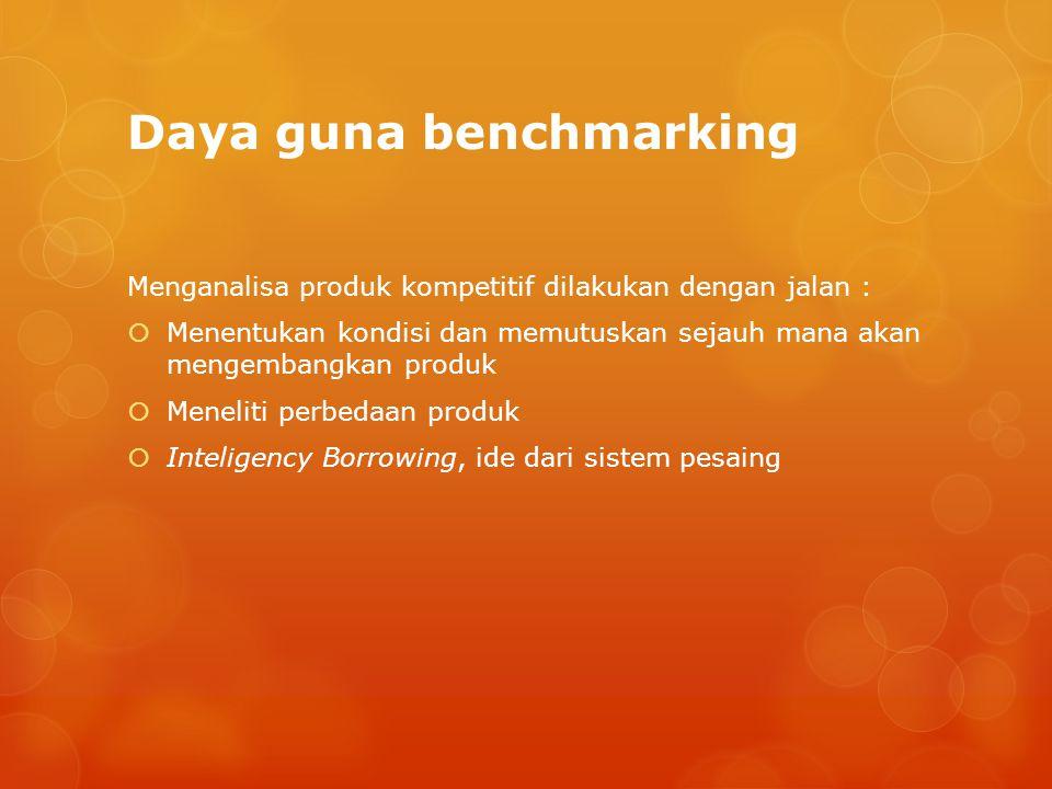 Daya guna benchmarking Menganalisa produk kompetitif dilakukan dengan jalan :  Menentukan kondisi dan memutuskan sejauh mana akan mengembangkan produ