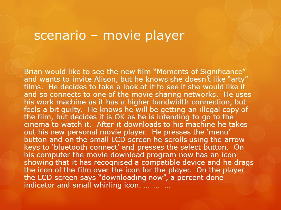 """scenario – movie player Brian would like to see the new film """"Moments of Significance"""" and wants to invite Alison, but he knows she doesn't like """"arty"""