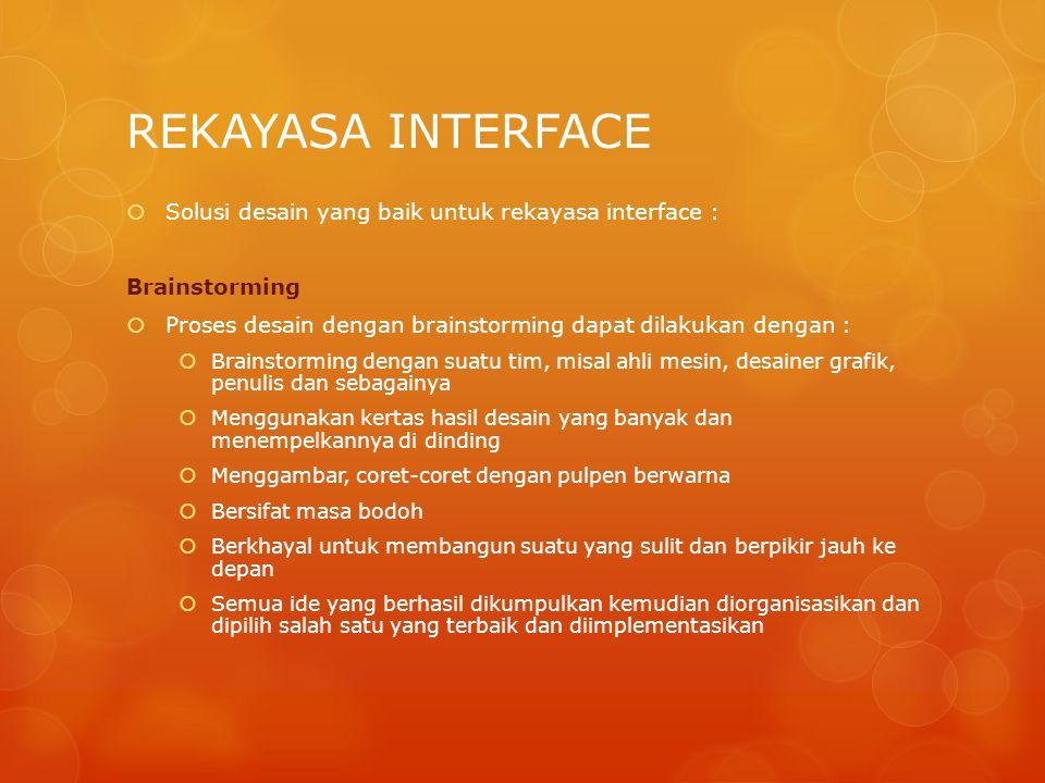 REKAYASA INTERFACE  Solusi desain yang baik untuk rekayasa interface : Brainstorming  Proses desain dengan brainstorming dapat dilakukan dengan : 