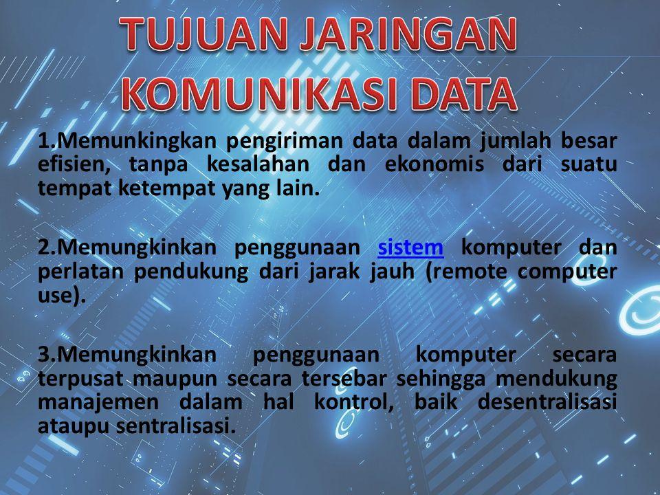 1.Memunkingkan pengiriman data dalam jumlah besar efisien, tanpa kesalahan dan ekonomis dari suatu tempat ketempat yang lain. 2.Memungkinkan penggunaa