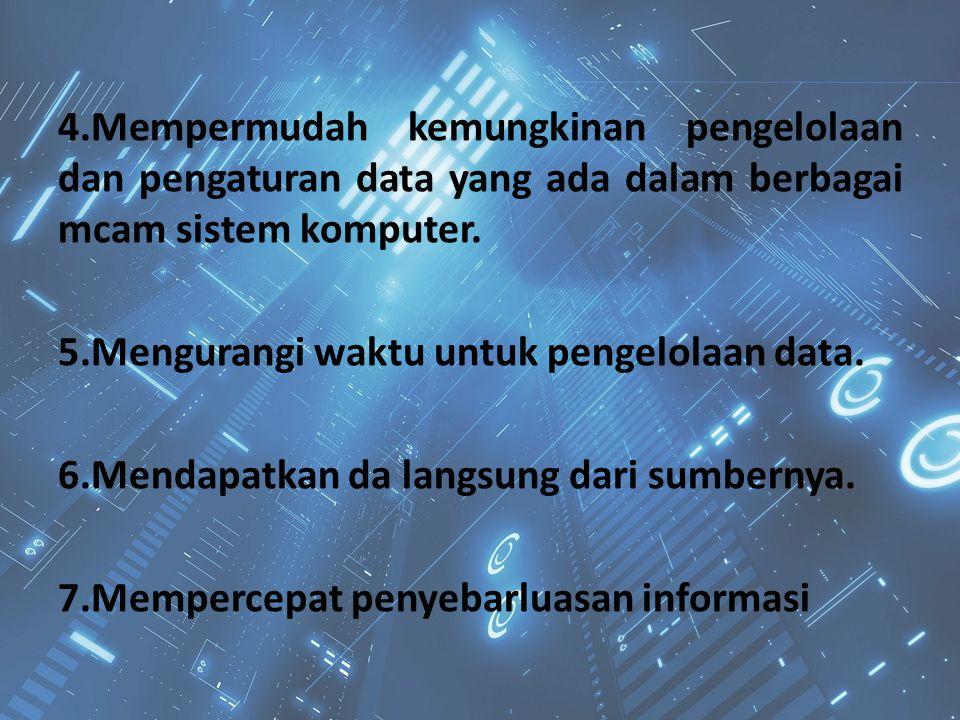 4.Mempermudah kemungkinan pengelolaan dan pengaturan data yang ada dalam berbagai mcam sistem komputer. 5.Mengurangi waktu untuk pengelolaan data. 6.M
