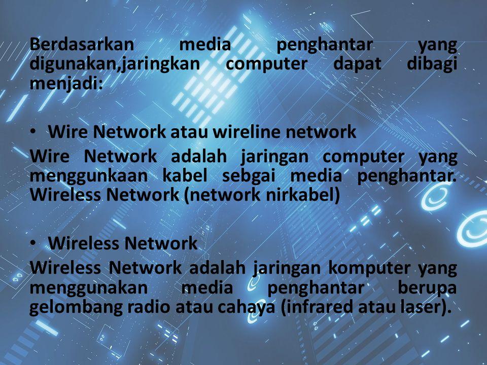 Berdasarkan media penghantar yang digunakan,jaringkan computer dapat dibagi menjadi: Wire Network atau wireline network Wire Network adalah jaringan c