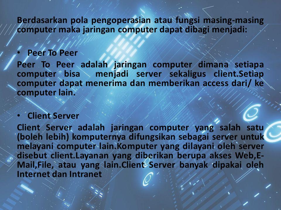 Berdasarkan pola pengoperasian atau fungsi masing-masing computer maka jaringan computer dapat dibagi menjadi: Peer To Peer Peer To Peer adalah jaring
