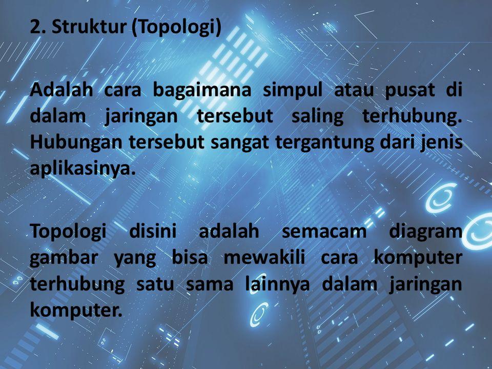 2. Struktur (Topologi) Adalah cara bagaimana simpul atau pusat di dalam jaringan tersebut saling terhubung. Hubungan tersebut sangat tergantung dari j