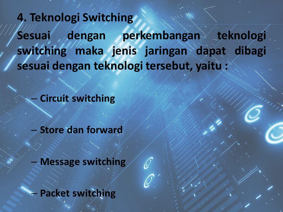4. Teknologi Switching Sesuai dengan perkembangan teknologi switching maka jenis jaringan dapat dibagi sesuai dengan teknologi tersebut, yaitu : – Cir