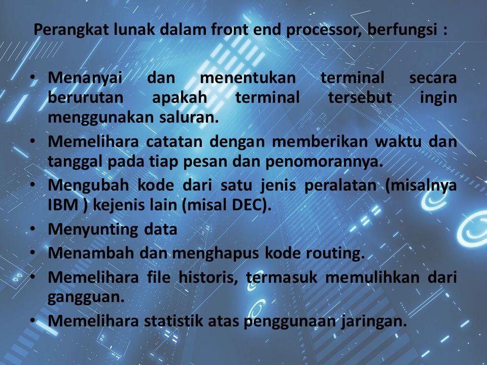 Perangkat lunak dalam front end processor, berfungsi : Menanyai dan menentukan terminal secara berurutan apakah terminal tersebut ingin menggunakan sa