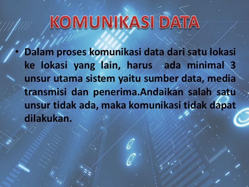 Dalam proses komunikasi data dari satu lokasi ke lokasi yang lain, harus ada minimal 3 unsur utama sistem yaitu sumber data, media transmisi dan pener
