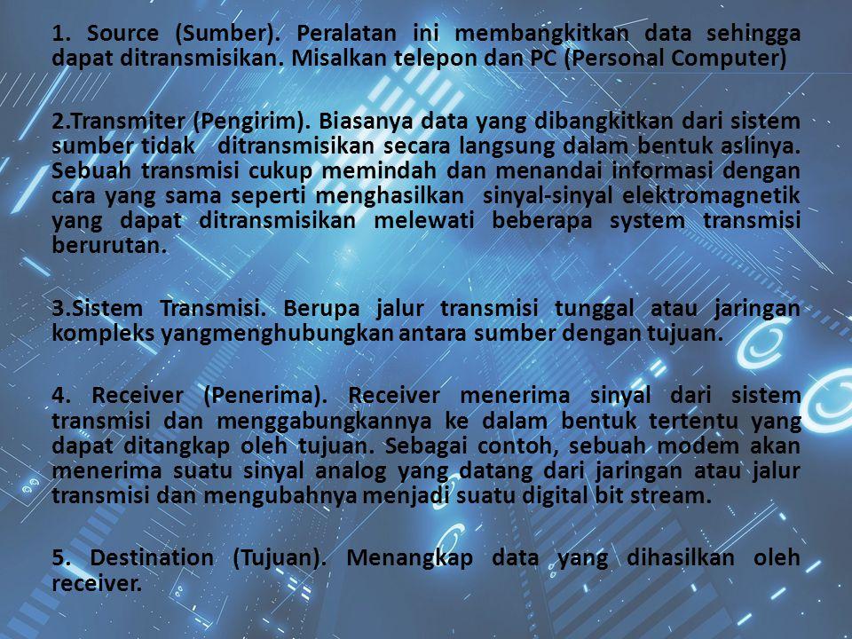 1. Source (Sumber). Peralatan ini membangkitkan data sehingga dapat ditransmisikan. Misalkan telepon dan PC (Personal Computer) 2.Transmiter (Pengirim