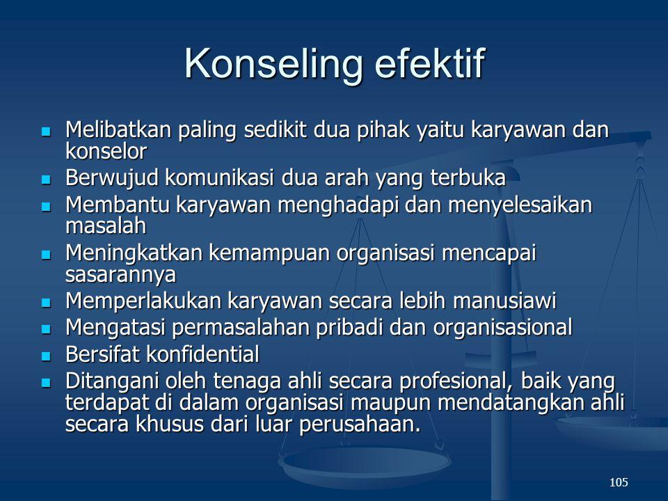 104 Konseling Landasan pemberian konseling karena berbagai masalah yang dihadapi karyawan termasuk stre dapat berpengaruh pada prstasi kerja, kemampuan untuk penyesuaian diri.