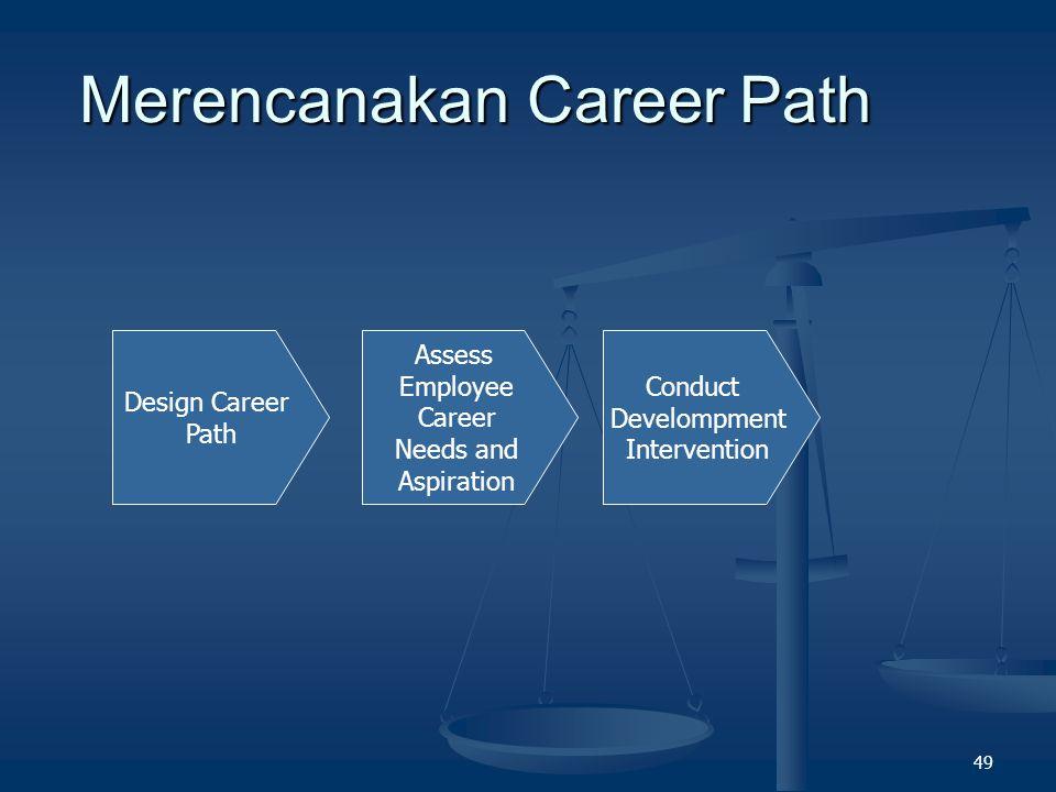 48 What is Career Path ? Rangkaian posisi yang harus dilalui untuk mencapai tingkatan posisi tertentu dalam perusahaan. Rangkaian posisi yang harus di
