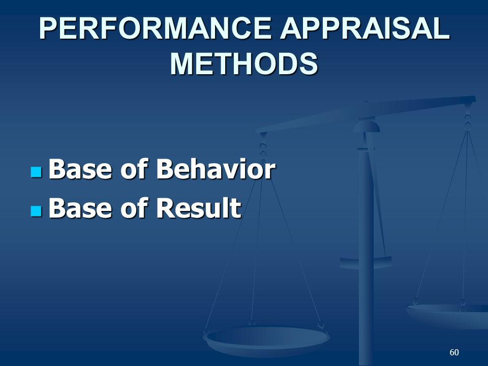 59 Performance Evaluation (cont'd) What Do We Evaluate? What Do We Evaluate? TraitsTraits Individual Task Outcomes BehaviorsBehaviors Performance Eval