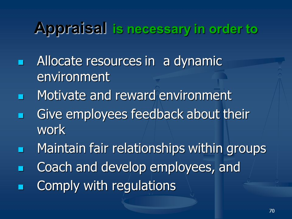 69 Characteristics of Good Appraisal System RELEVANCY-SENSITIVITY-OBJECTIVITY- PRACTICALITY Links individual performance to the corporate/unit strateg