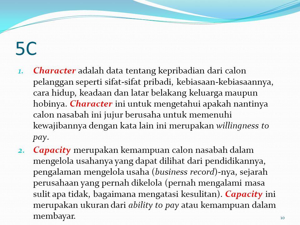 5C 1. Character adalah data tentang kepribadian dari calon pelanggan seperti sifat-sifat pribadi, kebiasaan-kebiasaannya, cara hidup, keadaan dan lata