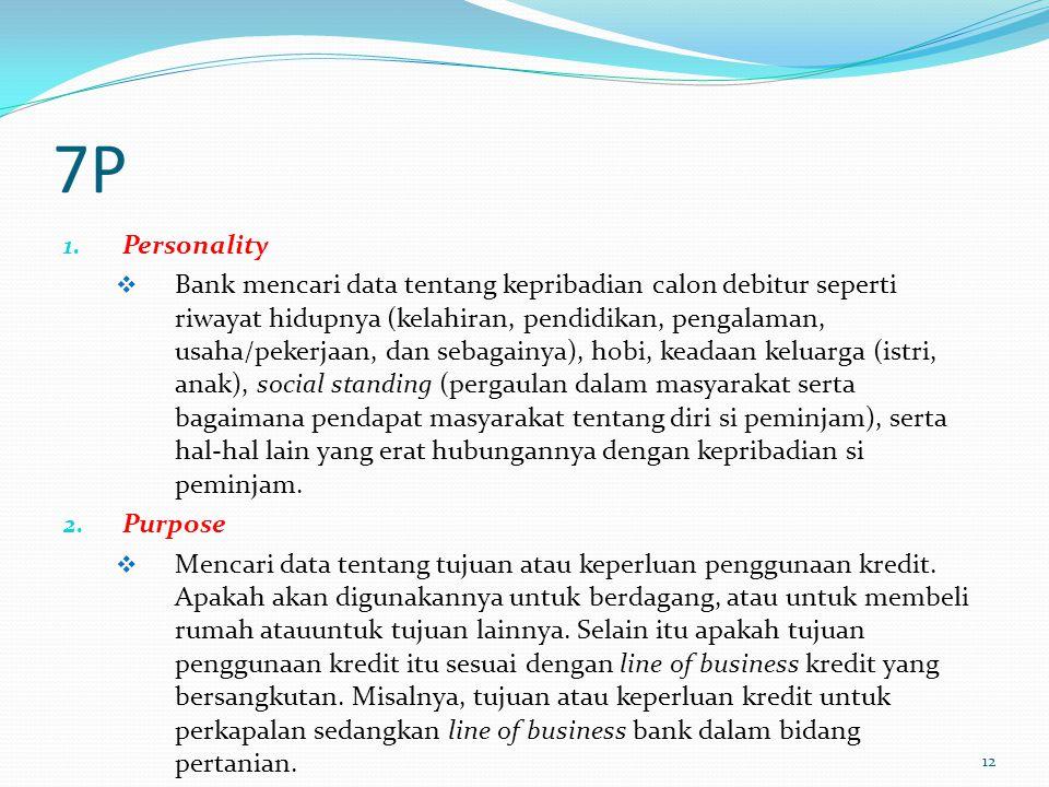 7P 1. Personality  Bank mencari data tentang kepribadian calon debitur seperti riwayat hidupnya (kelahiran, pendidikan, pengalaman, usaha/pekerjaan,