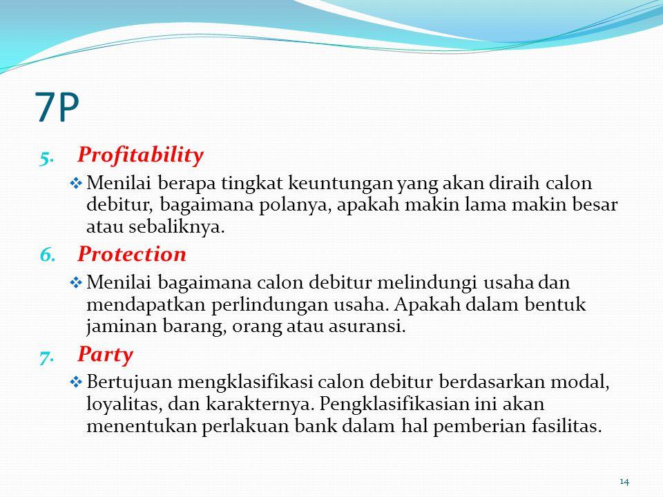 7P 5. Profitability  Menilai berapa tingkat keuntungan yang akan diraih calon debitur, bagaimana polanya, apakah makin lama makin besar atau sebalikn