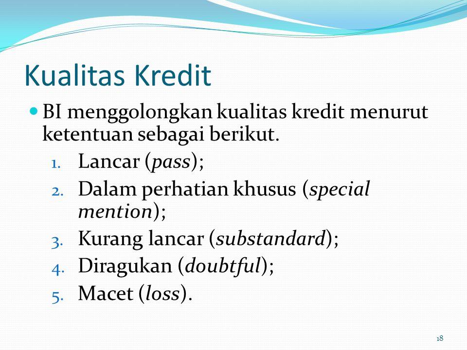 Kualitas Kredit BI menggolongkan kualitas kredit menurut ketentuan sebagai berikut. 1. Lancar (pass); 2. Dalam perhatian khusus (special mention); 3.