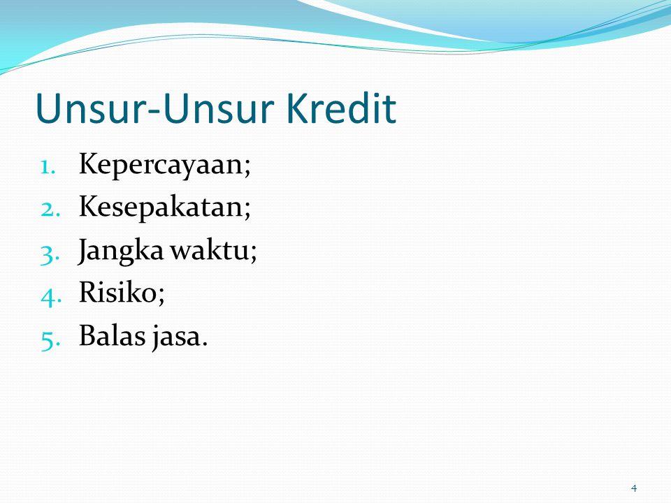 Tujuan Kredit 1.Mencari keuntungan; 2. Membantu usaha nasabah; 3.