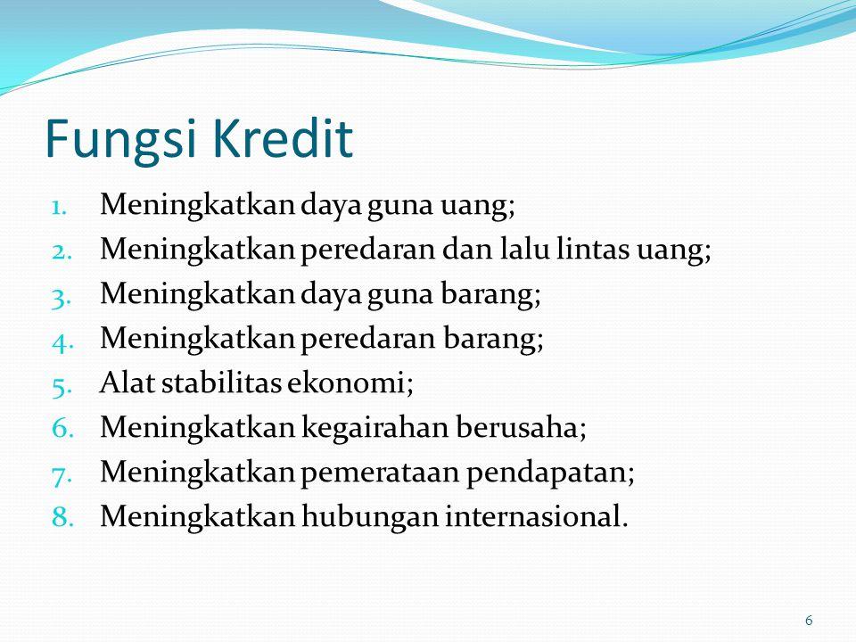 Fungsi Kredit 1. Meningkatkan daya guna uang; 2. Meningkatkan peredaran dan lalu lintas uang; 3. Meningkatkan daya guna barang; 4. Meningkatkan pereda