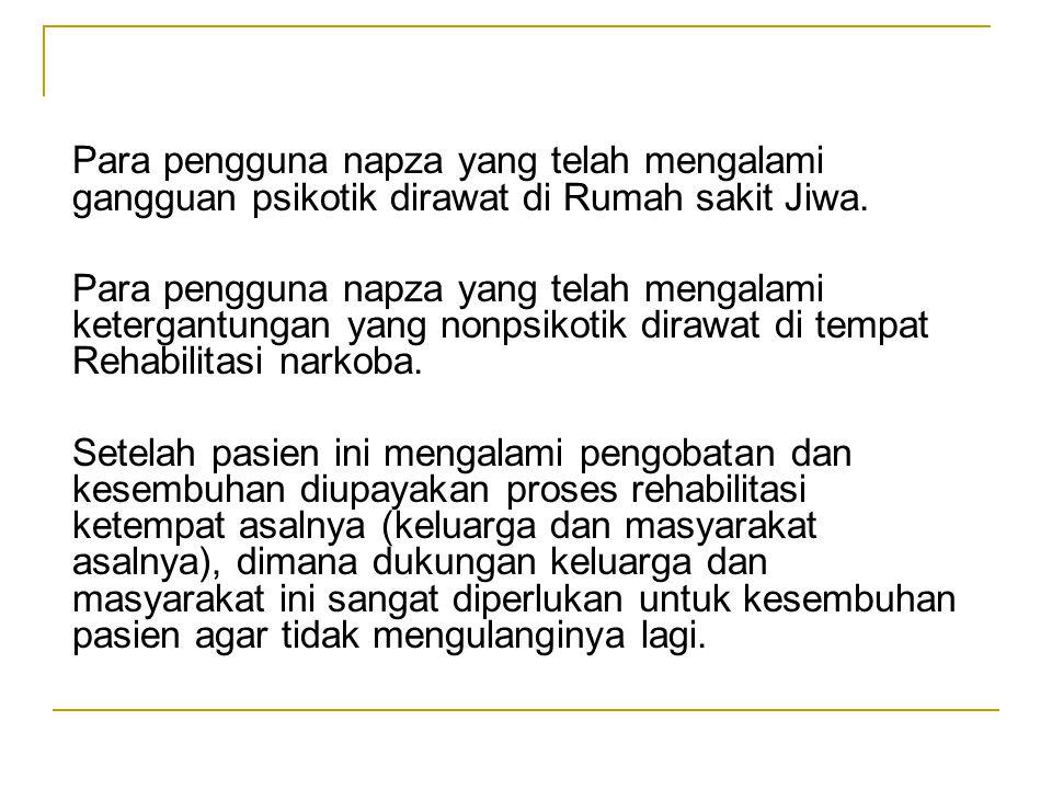 Para pengguna napza yang telah mengalami gangguan psikotik dirawat di Rumah sakit Jiwa. Para pengguna napza yang telah mengalami ketergantungan yang n