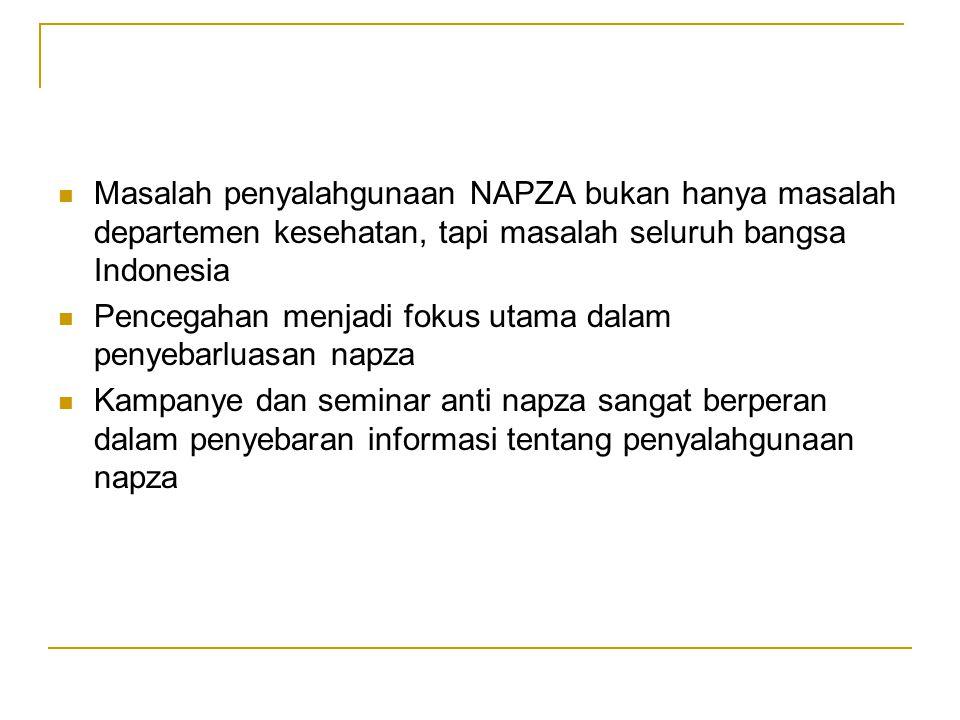 Masalah penyalahgunaan NAPZA bukan hanya masalah departemen kesehatan, tapi masalah seluruh bangsa Indonesia Pencegahan menjadi fokus utama dalam penyebarluasan napza Kampanye dan seminar anti napza sangat berperan dalam penyebaran informasi tentang penyalahgunaan napza