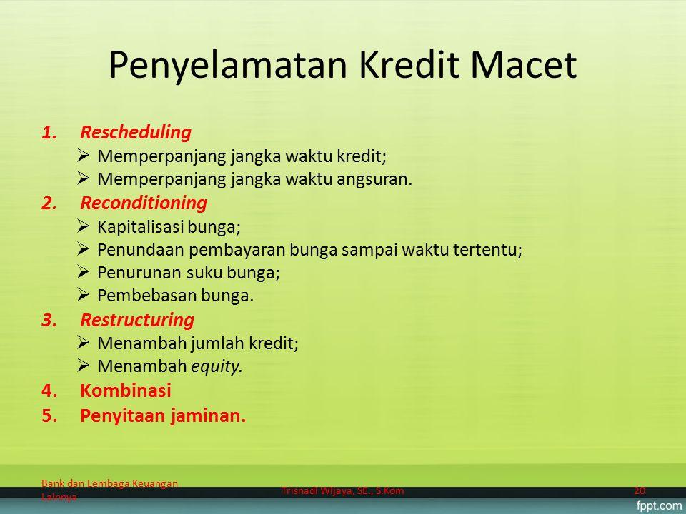 Penyelamatan Kredit Macet 1.Rescheduling  Memperpanjang jangka waktu kredit;  Memperpanjang jangka waktu angsuran. 2.Reconditioning  Kapitalisasi b