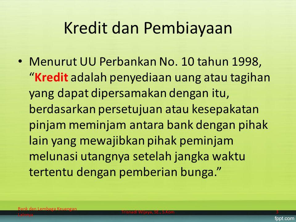 """Kredit dan Pembiayaan Menurut UU Perbankan No. 10 tahun 1998, """"Kredit adalah penyediaan uang atau tagihan yang dapat dipersamakan dengan itu, berdasar"""