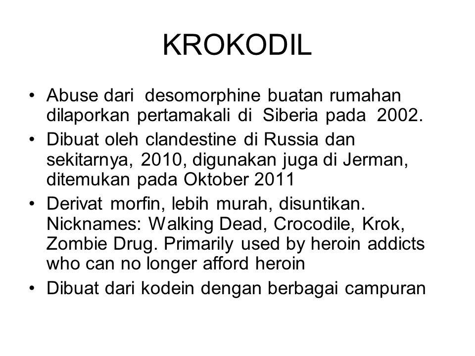 KROKODIL Abuse dari desomorphine buatan rumahan dilaporkan pertamakali di Siberia pada 2002. Dibuat oleh clandestine di Russia dan sekitarnya, 2010, d