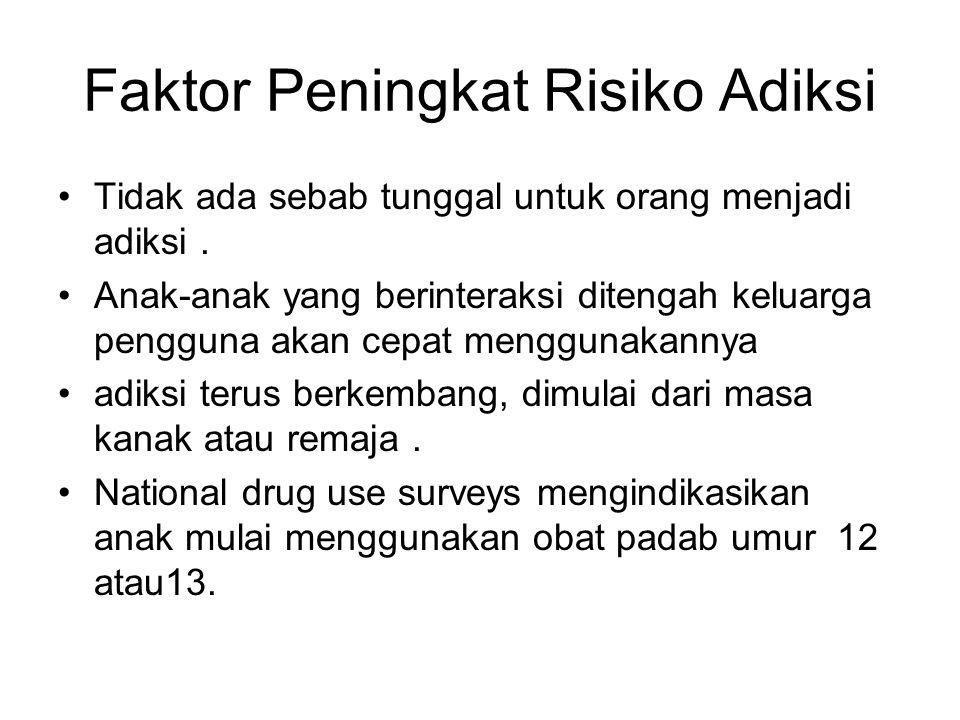 Faktor Peningkat Risiko Adiksi Tidak ada sebab tunggal untuk orang menjadi adiksi. Anak-anak yang berinteraksi ditengah keluarga pengguna akan cepat m