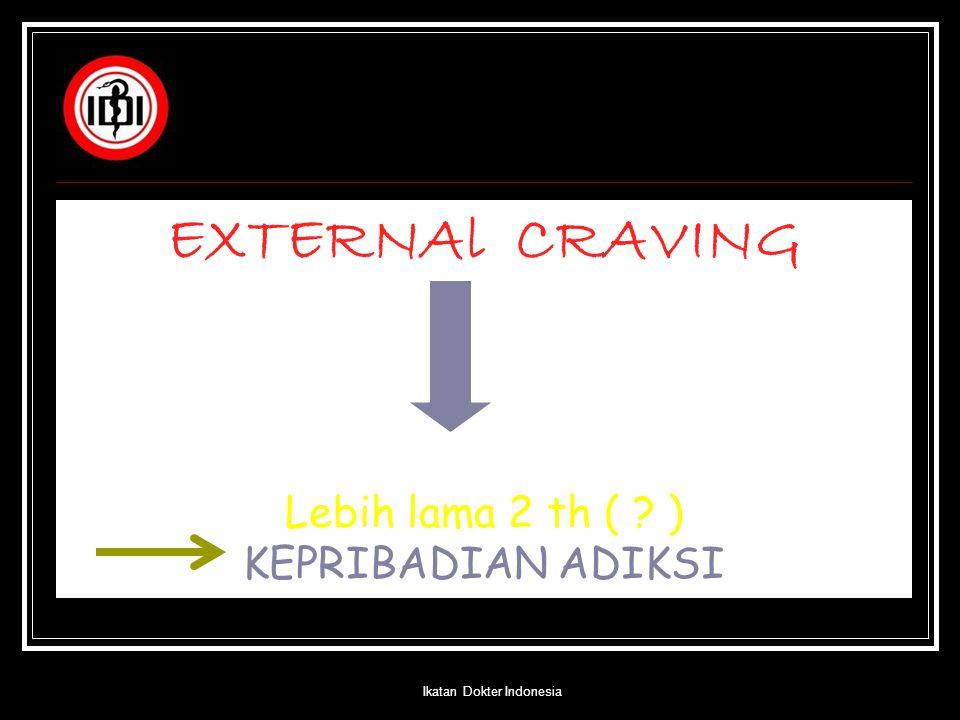 EXTERNAl CRAVING Lebih lama 2 th ( ? ) KEPRIBADIAN ADIKSI Ikatan Dokter Indonesia