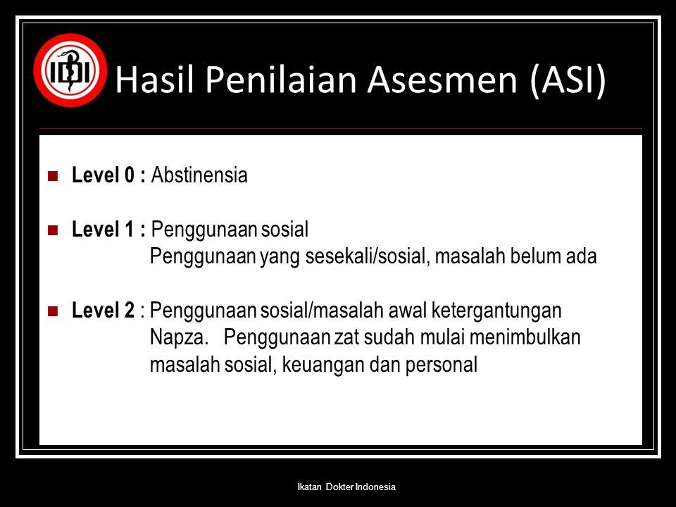 Hasil Penilaian Asesmen (ASI) Level 0 : Abstinensia Level 1 : Penggunaan sosial Penggunaan yang sesekali/sosial, masalah belum ada Level 2 : Penggunaa