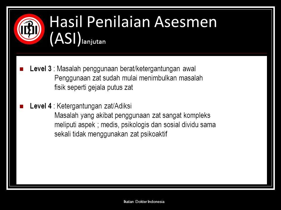 Hasil Penilaian Asesmen (ASI) lanjutan Level 3 : Masalah penggunaan berat/ketergantungan awal Penggunaan zat sudah mulai menimbulkan masalah fisik sep